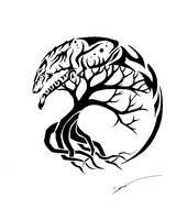Tree Of Life Tattoo With Wolf drawing