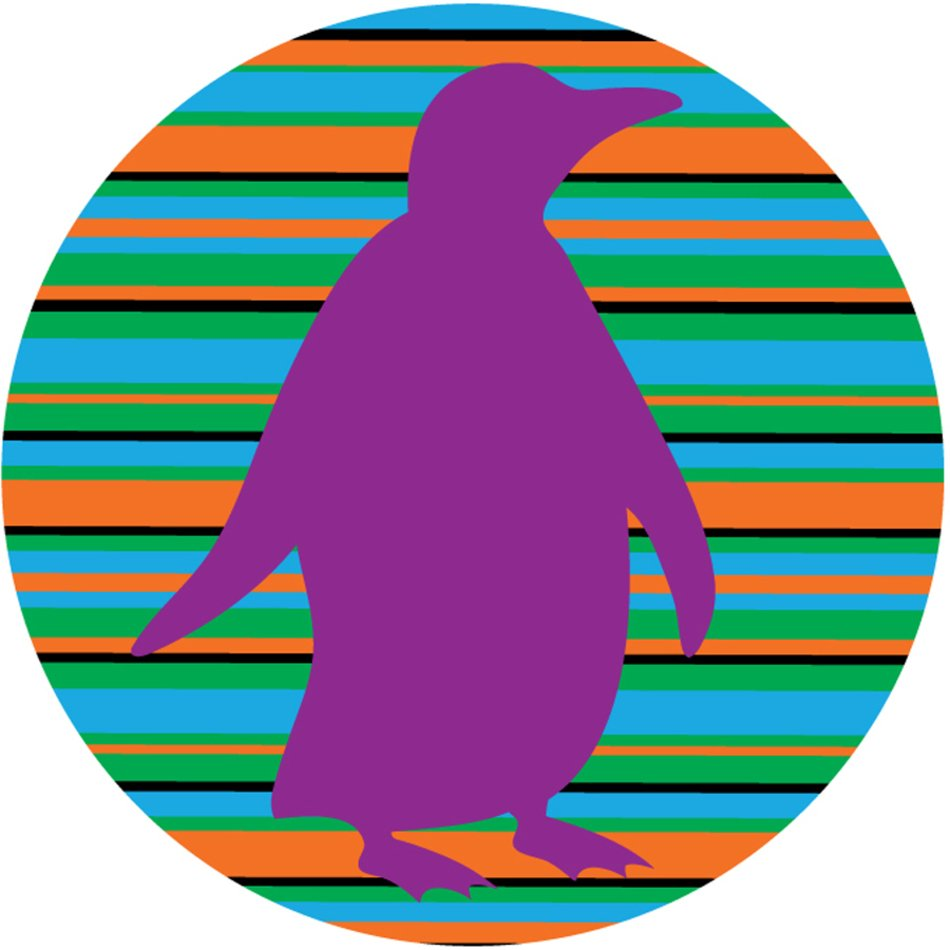 purple penguin silhouette at colorful striped circle, drawing