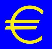 yellow euro sign on a blue background