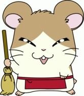 cartoon hamster with a broom