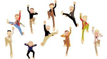 variety of jumps in colorful pictures