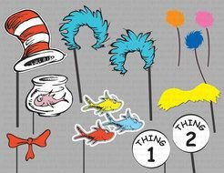 Dr Seuss Thing 1 And 2 Photo Booth drawing