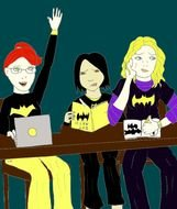 Clipart of Wonder Woman And Batgirl Together