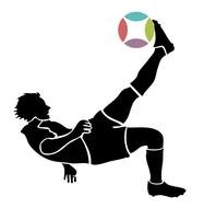 black silhouette of a soccer player kicking the ball