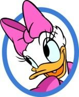 Daisy Duck portrait in a blue circle