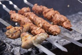 shish kebab on the grill outdoors