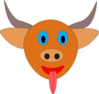 funny bull with horns vector drawing