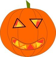 pumpkin with funny carving drawing