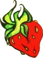 drawing of a sweet juicy red strawberry
