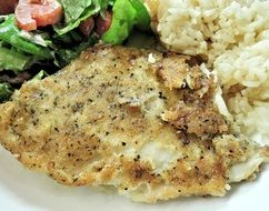 sole fish with lemon pepper and baked rice