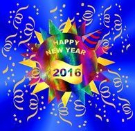 colourful sign that says hppy new year 2016 with confetti