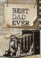 retro greeting card to the best dad ever
