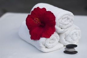 three rolled white towels with a red flower and pebbles