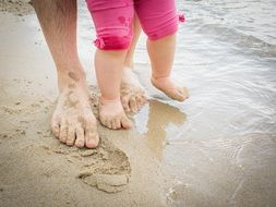 baby's and woman's foots on wet sand