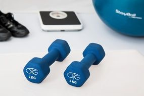 blue dumbbells
