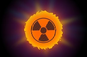 warning sun radioactive sign