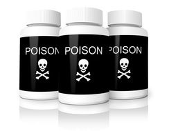 "three bottles labeled ""poison"" and with a skull pictures"