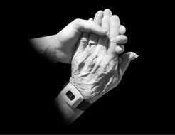 hands old young holding caring