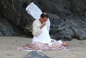 meditation on the shore of the Arabian Sea