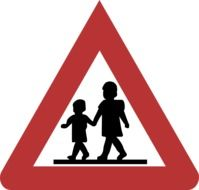 sign children caution drawing
