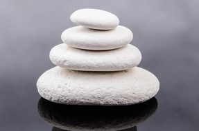 cairn of white pebbles