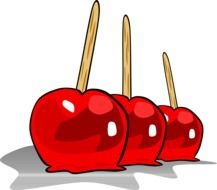 drawing of candied apple fruit on sticks