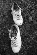 Pair of the white sneakers on the ground