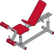bench red gym drawing