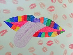 Colorful drawing of lips and tongue