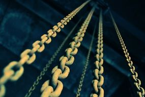 chains in industry close up