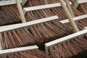 brooms close up sweep wooden