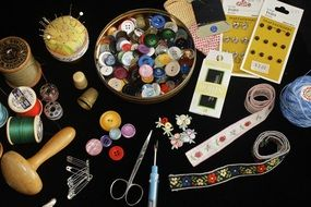 buttons, threads, needles, scissors and more for sewing