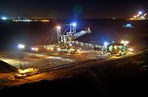 open pit mining night
