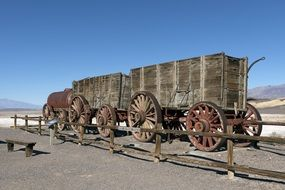 ruined old borax wagons death valley desert