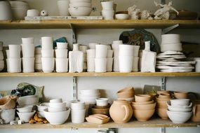 pottery on the shelves