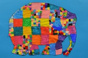 colorful handmade elephant, patchwork