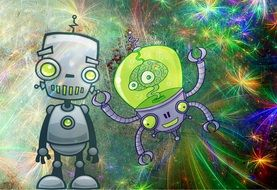 drawn robot and alien in space