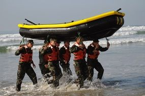 Military training on the boat on the sea