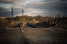 power transmission pylons in an abandoned industry