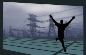 winner, conceptual drawing, black male silhouette at power lines