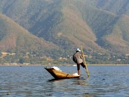 balancing fisherman in Inle lake