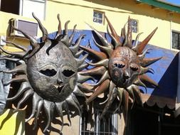 two suns, metal sculpture