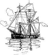 ship with sails on the sea