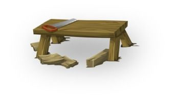 graphic image of a tool on a wooden bench
