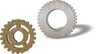 two different gears as a graphic image