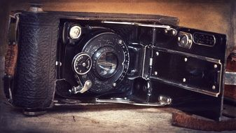 inside of retro camera