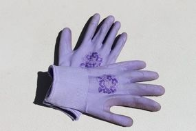purple female gardening gloves