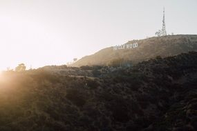 hollywood sign on a hill in California