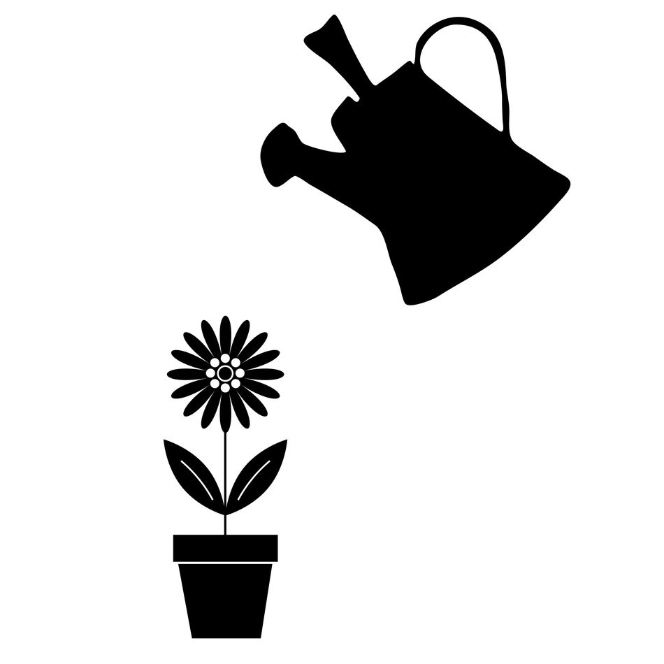 can watering flower in pot black outlines