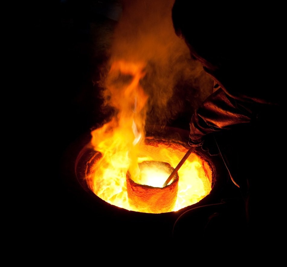 molten metal burning in the crucible